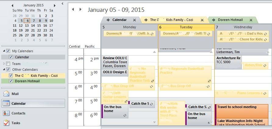 Outlook Multiple Calendar View